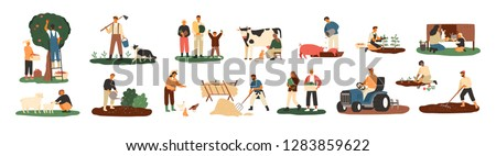 Set of farmers or agricultural workers planting crops, gathering harvest, collecting apples, feeding farm animals, carrying fruits, milking cow, working on tractor. Flat cartoon vector illustration. #1283859622