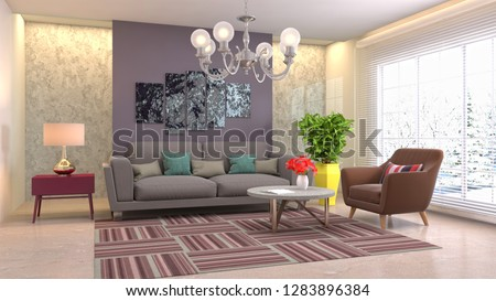 Interior of the living room. 3D illustration #1283896384