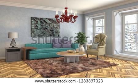 Interior of the living room. 3D illustration #1283897023
