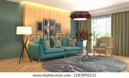 Interior of the living room. 3D illustration #1283898235