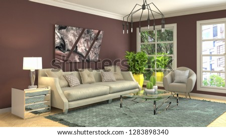 Interior of the living room. 3D illustration #1283898340
