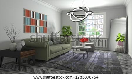 Interior of the living room. 3D illustration #1283898754