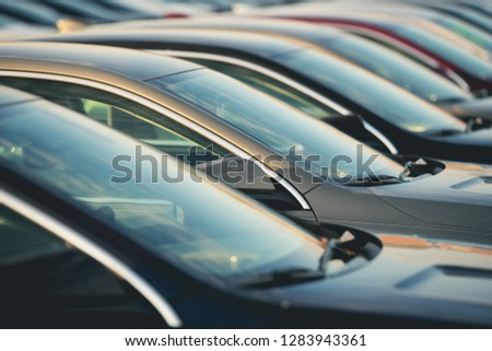 Transportation Industry Concept. Automotive Dealership New Cars in Stock. #1283943361