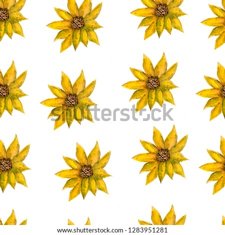 Seamless Endless  Hand Drawn Watercolor Romantic Floral yellow Flowers Pattern Isolated Background.Wildflowers for wedding cards,textile,wallpaper,etc. #1283951281