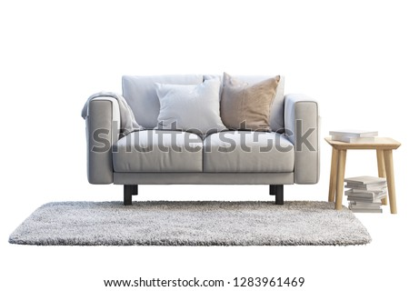 3d render of white fabric sofa with gray rug and wooden coffee table on white background. Scandinavian interior. Furniture set #1283961469