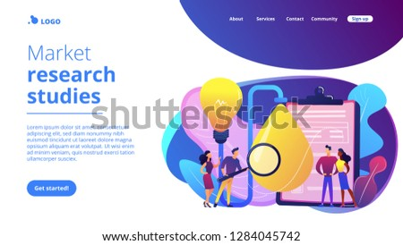 Consumers with magnifier testing new product properties. Product testing, customer needs identification, market research studies concept. Website vibrant violet landing web page template. #1284045742