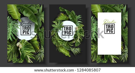 Vector banners set with green tropical leaves on black background. Exotic botanical design for cosmetics, spa, perfume, beauty salon, travel agency, florist shop. Best as wedding invitation cards Royalty-Free Stock Photo #1284085807