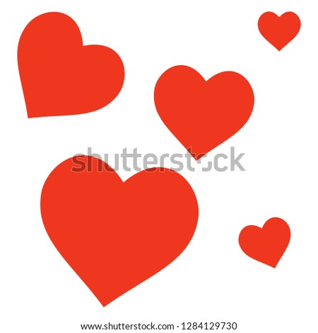 Heart icon love symbol, set. Vector illustrations. Flat design.