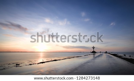 Submersible road at sunset #1284273148