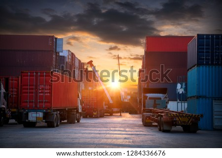 Industrial Container Cargo freight ship, forklift handling container box loading for logistic import export and transport industry concept backgroundtransport industry background #1284336676