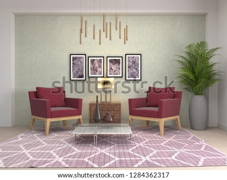 interior with chair. 3d illustration #1284362317