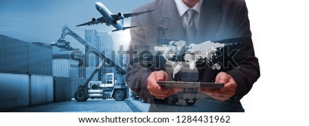 Transportation, import-export and logistics concept, container truck, ship in port and freight cargo plane in transport and import-export commercial logistic, shipping business industry  #1284431962
