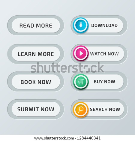 Set of vector modern material style buttons. Different gradient colors and icons on white forms with shadows. #1284440341