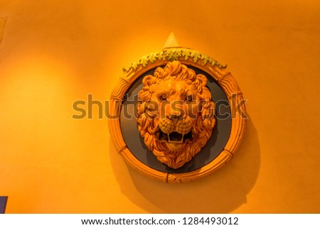 Rome, Italy - 23 June 2018: Interiors of the Castel Sant Angelo, Mausoleum of Hadrian in Rome, Italy, lion face #1284493012