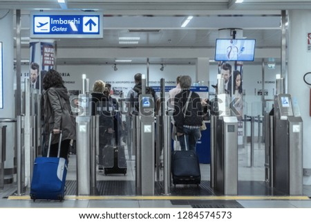 Roma, Italy - april 17, 2018: Security check area, in Rome Airport #1284574573