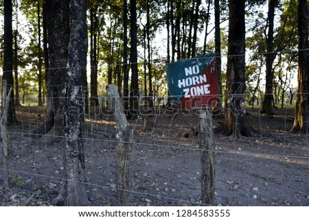 NO horn zone in Forest Royalty-Free Stock Photo #1284583555