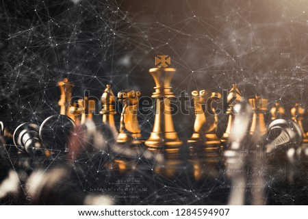 business strategy brainstorm chess board game with hand touch black background with free copy space for your text #1284594907