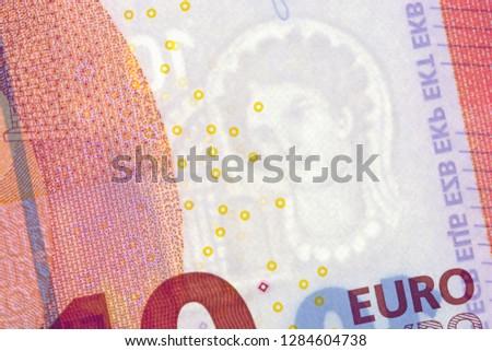 Euro banknote watermark, close up