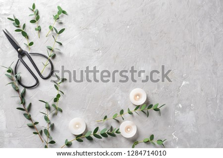 Burning candles with eucalyptus branches and scissors on grey background #1284714010