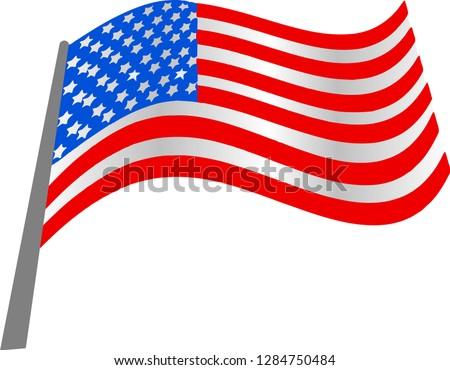 AUS Flag, American Flag - Vector _illustration #1284750484