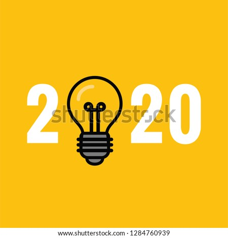 Year 2020 Typography Concept Design with Bulb #1284760939