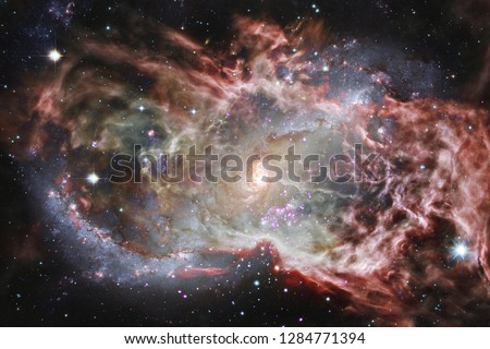Beautiful of universe. Science fiction wallpaper. Elements of this image furnished by NASA. #1284771394