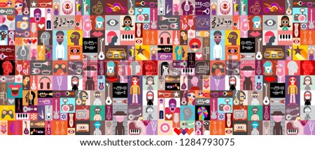 Large pop art vector design with many various people portraits, musical instruments, cocktails and random objects. Seamless background. #1284793075