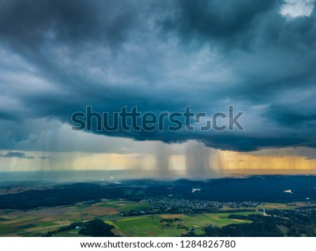 Aerial picture of Storm clouds with micro burst