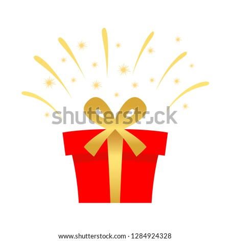 Surprise gift box, Delight present, Valentine's Day or birthday celebration, Decorated package. Flat icon design. Vector illustration. #1284924328