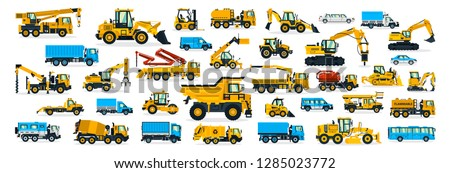 A large set of construction equipment, transportation for the construction site, cargo truck, bus, excavator, crane, tractor. Machines for building services. Shipping by cars. Vector illustration Royalty-Free Stock Photo #1285023772