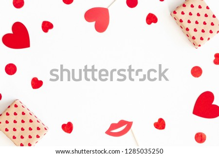Valentine's day background with party accessories. Valentines day concept. Flat lay, top view, copy space #1285035250