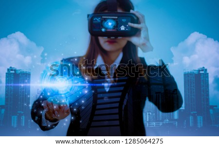 Double exposure-Future VR headsets,women business in suits using fingers experience best technology from modern innovations,concept virtual worlds simulating new imaginations #1285064275
