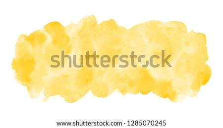 Chrome, amber yellow watercolor rectangle background, frame. Long, elongated watercolour shape with stains. Painted template for banners. Hand drawn abstract aquarelle fill, texture. Rounded edge. #1285070245