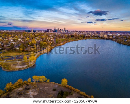 Colorful Drone Sunset Over Sloan's Lake in Denver, Colorado #1285074904