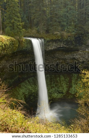 Upper South Falls at Silver Falls State Park, Oregon, USA. #1285133653
