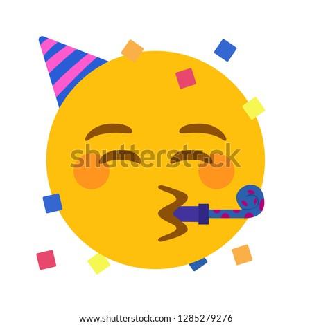 Party face emoji vector Royalty-Free Stock Photo #1285279276