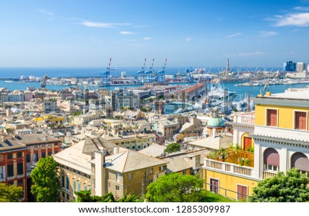 Top aerial scenic panoramic view from above of old historical centre quarter districts of european city Genoa (Genova), port and harbor of Ligurian and Mediterranean Sea, Liguria, Italy Royalty-Free Stock Photo #1285309987