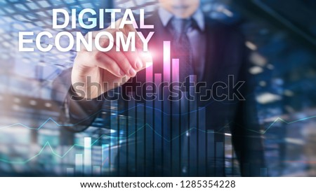 DIgital economy, financial technology concept on blurred background. #1285354228