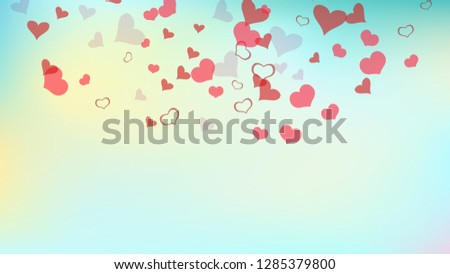 Romantic background. Red hearts of confetti are flying. Red on Gradient fond Vector. The idea of wallpaper design, textiles, packaging, printing, holiday invitation for Valentine's Day. #1285379800