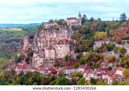 Rocamadour in the south of France on a cloudy day. #1285430266
