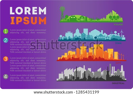 City Skyline Colored Sets, City Districts Banners #1285431199
