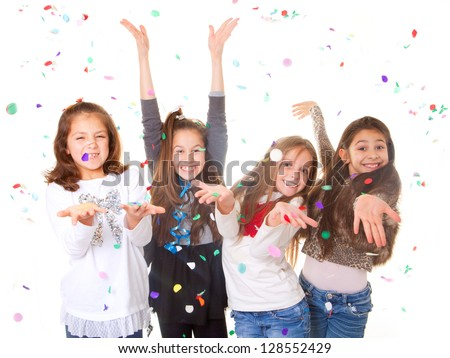 children celebrating party to celebrate birthday or new year. #128552429