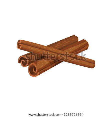 Three rolled sticks of cinnamon. Aromatic spice. Condiment for dishes. Cooking theme. Detailed flat vector design. Royalty-Free Stock Photo #1285726534