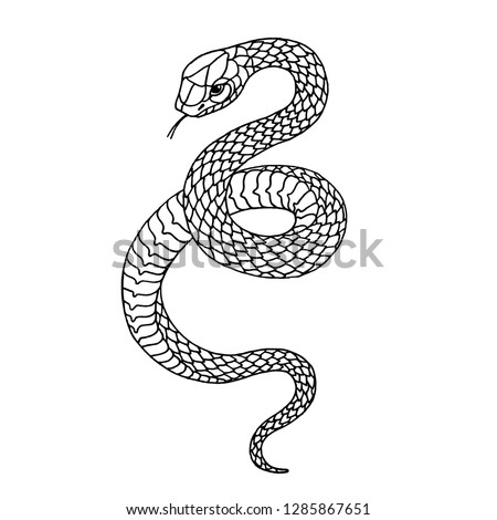 Tattoo snake. Traditional black dot style ink. Isolated vector illustration. Traditional Tattoo Old School Tattooing Style Ink. Snake silhouette illustration. Black serpent. #1285867651