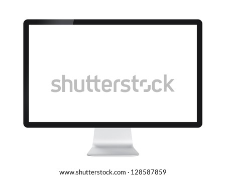 Computer display with blank white screen. Front view. Isolated on white background #128587859