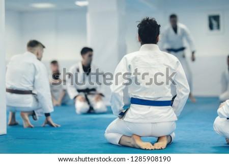 jiu-jitsu exercise training for martial art practice instructor doing workout for brazilian traditional jiu jitsu technique Royalty-Free Stock Photo #1285908190