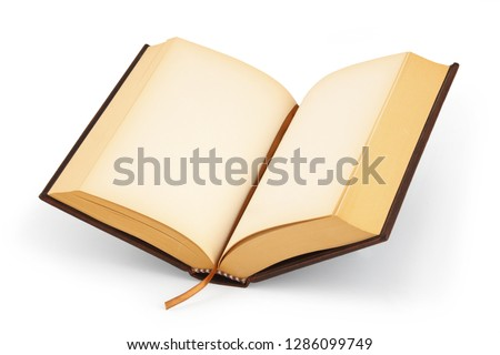 An open  hardcover book with blank pages with clipping path #1286099749