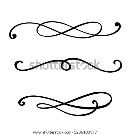 Vector vintage line elegant dividers and separators, swirls and corners decorative ornaments. Floral lines filigree design elements. Flourish curl elements for invitation or menu page illustration.