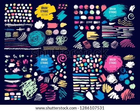 Set stroke spot blod. Brush, pen, marker, chalk. Color pastel. Vector distressed grunge modern textured brush stroke, doodle, doodles, scribbled, chalkboard. Dry brush. Hand drawn vector. #1286107531