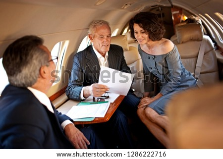 Business meeting on a private jet